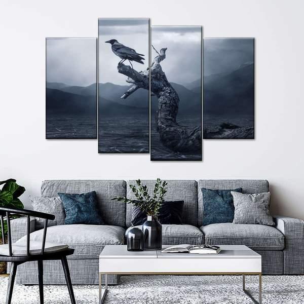 Gothic Raven Multi Panel Canvas Wall Art