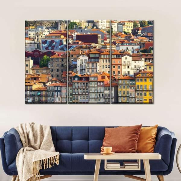 Porto Ribeira Multi Panel Canvas Wall Art